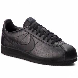 vestirse queso papelería  Nike Cortez Classic Leather TRIPLE BLACK 749571-002 sz 8-9 FORREST GUMP  RUNNING   eBay