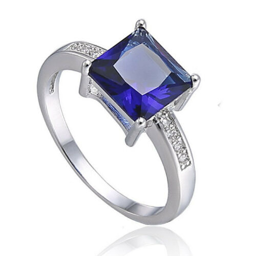 Stunning Blue Sapphire Ring Silver Plated Love Friendship Loyalty Halloween