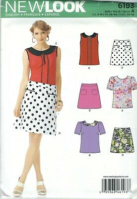 NewLook Pattern 6193 Ms Top w//Sleeve~Collar~Trim Variation~Above Knee Skirt 6-16