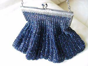 Antique Art Deco Silver Filigree Frame Iridescent Blue Jewel Crochet Bead Purse