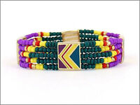 Teal, Yellow, And Purple Sea Beaded Chevron Stretch Bracelet