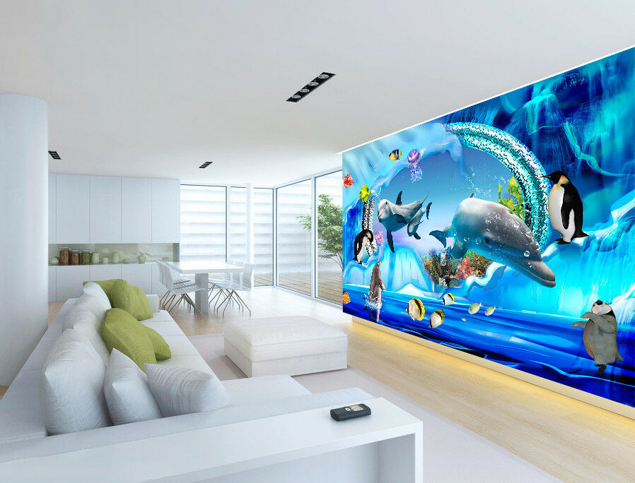 3D Penguins Dolphins 8 Wall Paper Murals Wall Print Wall Wallpaper Mural AU Kyra