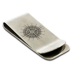 Stainless Steel Nautical Needle Dial Compass Slim Wallet Cash Card Money Clip