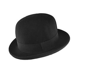 14c8491656827 Maz 100% Wool Felt Soft Crushable Bowler Hat in Black - 4 Sizes