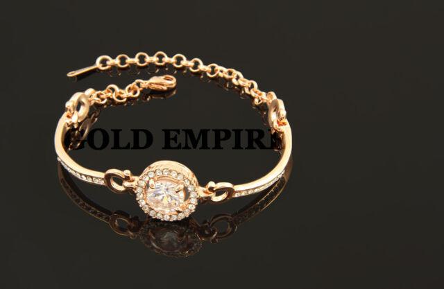 Damen, Armband Zirkonia, Rosegold 750er / 18 Karat vergoldet 1141
