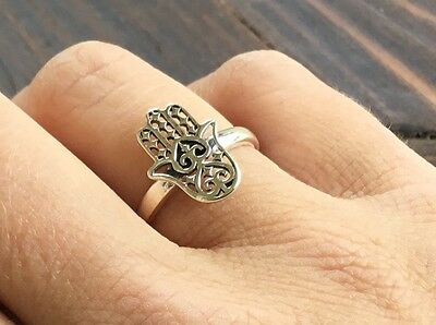 Handcrafted Sterling Silver Filigree Hamsa Fashion Ring Band Size 6, 7, 8 or 9