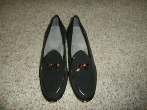 NWOB-Stuart-weitzman-Black-Brown-tortoise-shell-LOAFERS-9-5M-WOMENS