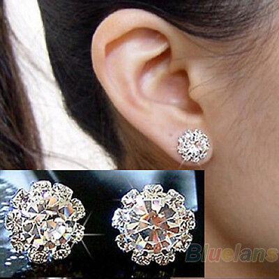 Women Fashion Shining Rhinestone Flower Charm Jewelry Ear Studs Earrings Pretty