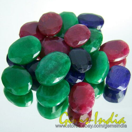 200+Ct Natural Stunning Oval Blue Sapphire Ruby /& Emerald Gemstones Loos Lot qty