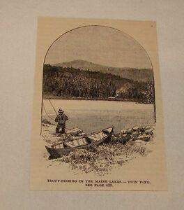 1886-Rivista-Incisione-Trout-Fishing-in-Doppio-Stagno-Maine