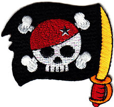 PIRATE FLAG w/SKULL, CROSSBONES & SWORD- Iron On Applique Patch/Pirates,Skulls
