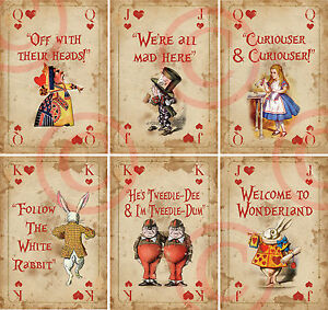 6 Alice In Wonderland 6 Mini Playing Card Decoration Props