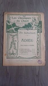 I Classici Del Canto Fr.shubert Addio Spartito Costallat Parigi Be 2 Persiane