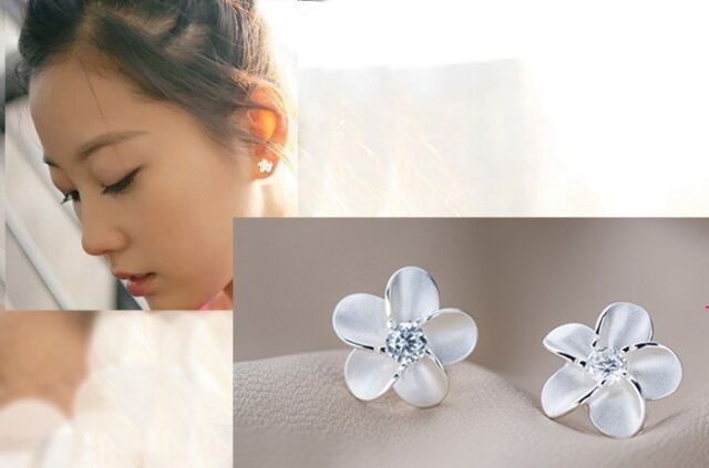 1 Pair Women's Silver Plated Stud Earrings Fashion Jewelry Flower Nice Design e