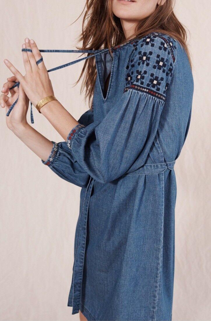 Madewell  Embroiderot Denim Tealeaf Dress XXS Flores Wash Blau f5749 NEW