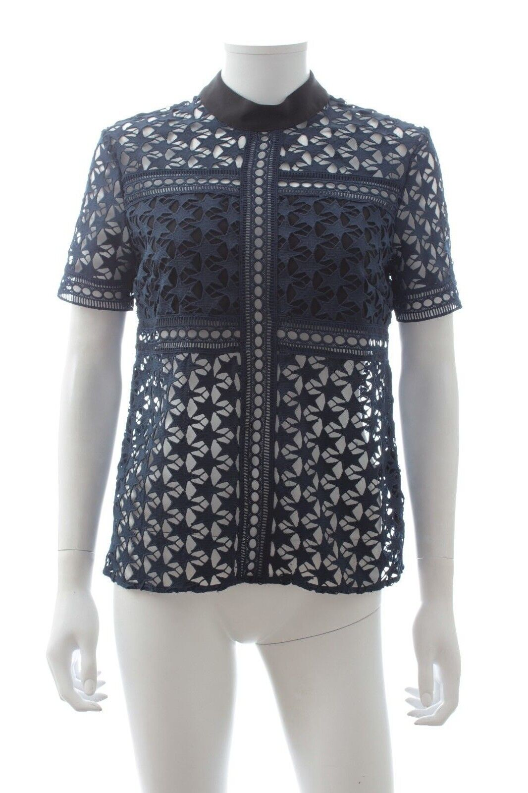 Self-Portrait Star Repeat Lace Top / Navy