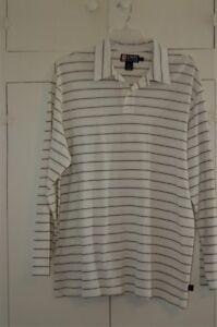b482603a61 Chaps Ralph Lauren Long Sleeve Stretch Striped Rugby Polo Shirt Men ...