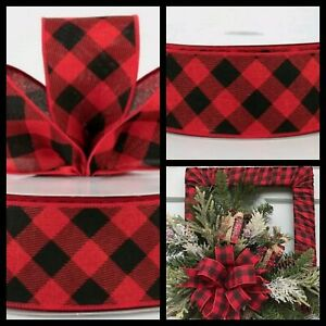 Christmas-Red-Black-Diagonal-Check-Wired-Ribbon-2-1-2-034-Wide-X-5-YARDS