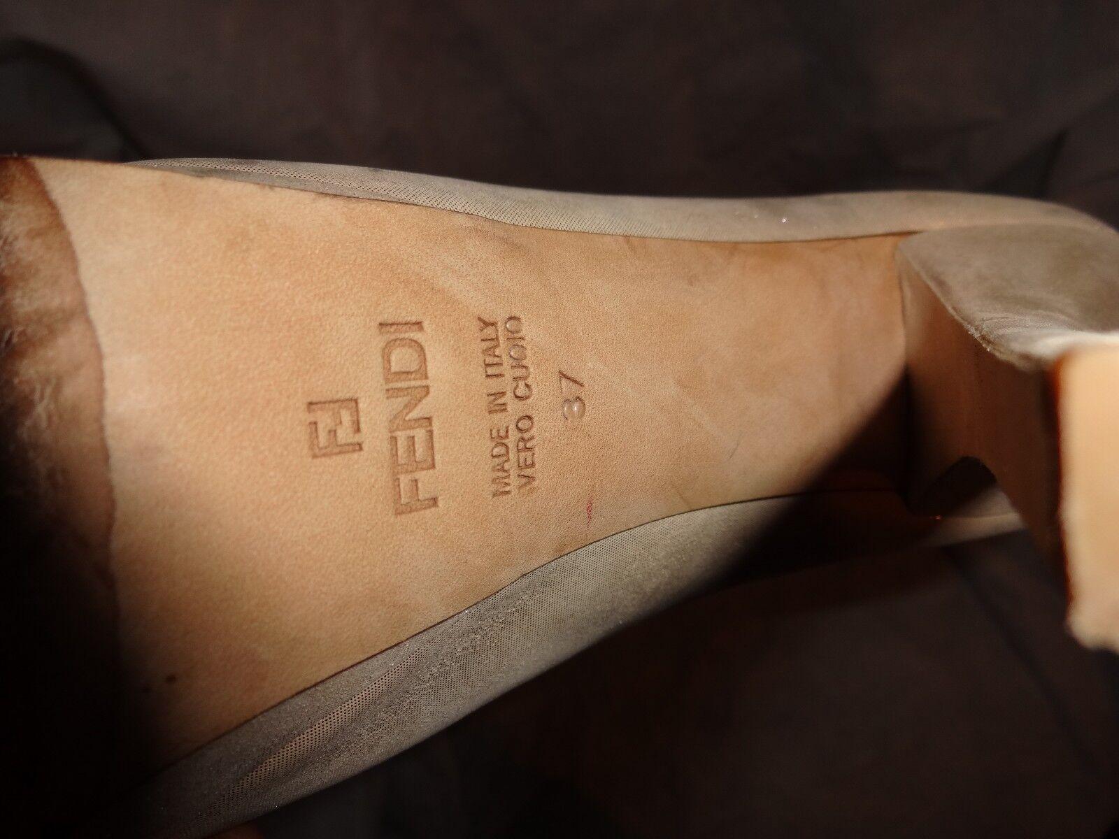 fendi femmes escarpins lumière or soyeux escarpins femmes talon en cuir taille vgc 2f3679