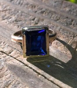 Vintage-Antique-Inspire-Big-Emerald-Cut-Blue-Sapphire-Ring-White-Gold-Fns-Silver