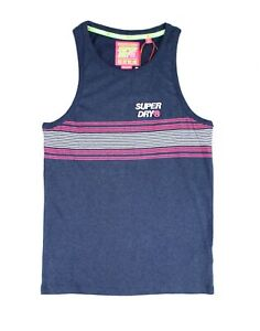 Superdry-Mens-Shirt-Blue-Size-Medium-M-Tank-Striped-Logo-Classic-Fit-29-096