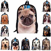 Cute Pug Dog Backpack School Shoulder Bag For Junior School Boys Girls Rucksack