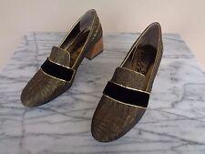 Lanvin Size 38 Black Velvet & Metallic Gold Brocade Loafers Heels Shoes