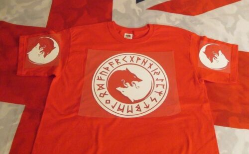 T SHIRT RED VIKING NORSE WOLF