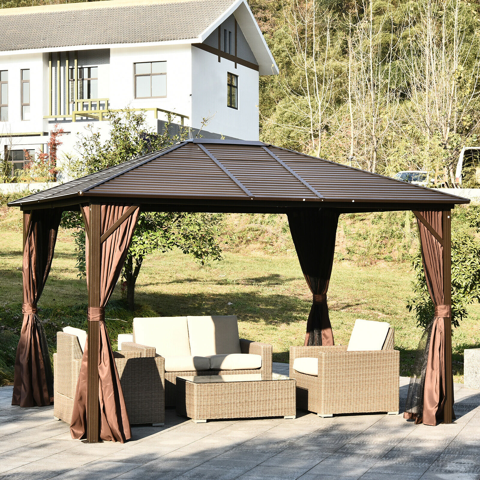 Patio Luxury Gazebo 10x10ft Aluminium Hard Top Outdoor Netting Sidewall Curtains For Sale Online Ebay