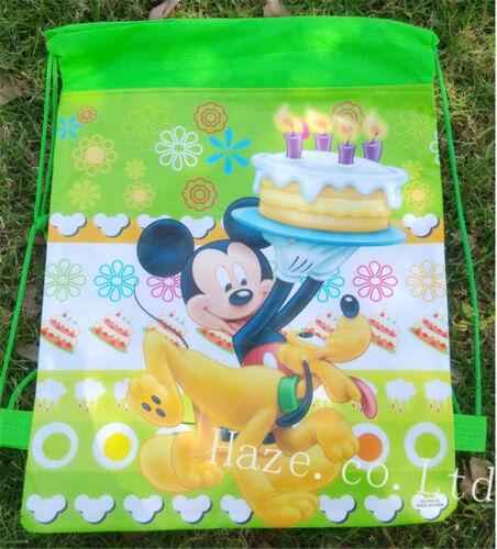 Disney Mickey Minnie Non-Woven Drawstring Bag Backpack Cute Gift AAA