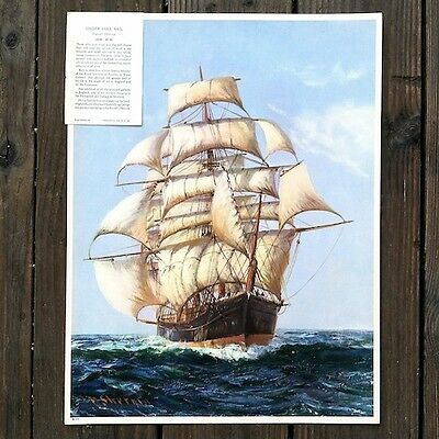 Vintage Original YACHTING CLIPPER SHIP Art Lithograph Print 1920s Unused