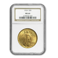 $20 Saint-Gaudens Gold Double Eagle Coin - Random Year - MS-64 NGC - SKU #124