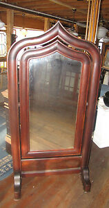 AMERICAN-EMPIRE-GOTHIC-MEEKS-STYLE-CROTCH-MAHOGANY-CHEVAL-MIRROR