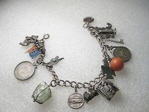 Vintage-Sterling-Silver-Bracelet-amp-17-charms-Spinning-Cable-Car-Native-7-034