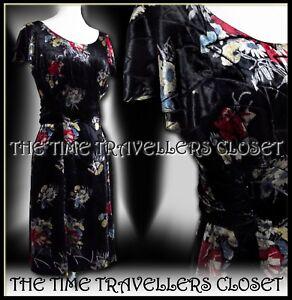 Kate-Moss-Topshop-Black-Silk-Velvet-Floral-40s-50s-Vintage-Tea-Dress-UK-10-12