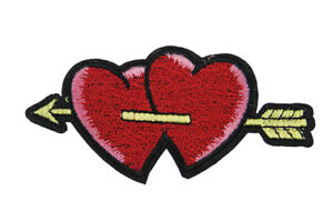 Double love heart arrow embroidered iron on patch sewing applique