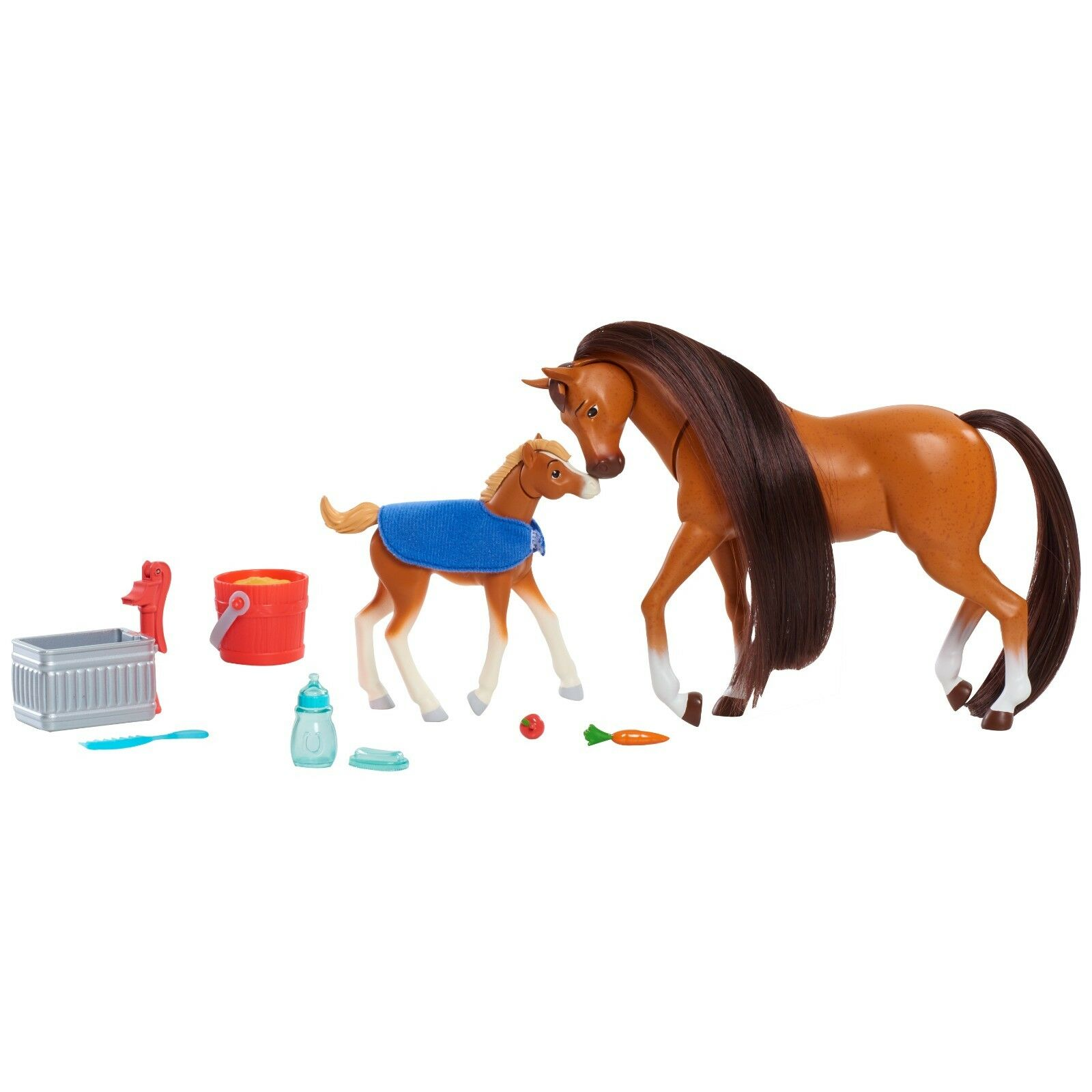Spirit Riding Free Feed and Nuzzle Set with Foal Baby Horse New