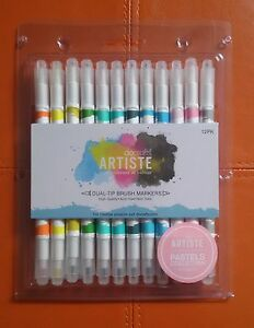 Docrafts-Artiste-Dual-Tip-Brush-Markers-12pcs-Brush-Fine-Point-Pastel
