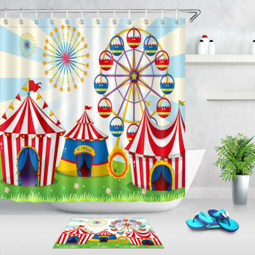 Circus Lawn Carnival Shower Curtain Waterproof Polyester Fabric Bathroom Mat Set