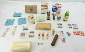 Vintage-First-Aid-Kit-Supplies-Bandages-Gauze-Halazone-Bufferin-TF