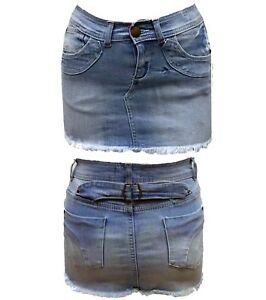 Womens Ladies Mini Skirt Denim Freyed Hem Bodycon Denim Mini Skirt Size UK 8-14