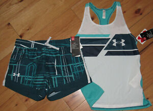 Under Armour black logo top /& pink patterned shorts NWT girls/' L YLG large