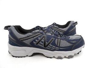 New Balance Men s MT410V4 Trail-Running Shoe Grey Blue Size 13  0caca21450e1
