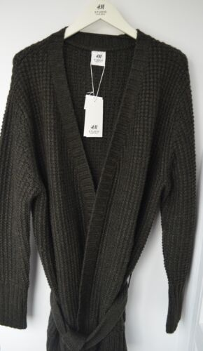 NWT Men H/&M Studio Collection AW 2016 Textured Knit Cardigan Green Sweater Trend