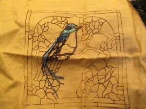 Stained Glass Blue Bird Burlap Rug Hooking Canvas & Wool 15x15 inches- Ingri