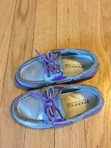Toddler Girls Sperry Top-sider size 8.5 Purple And Silver