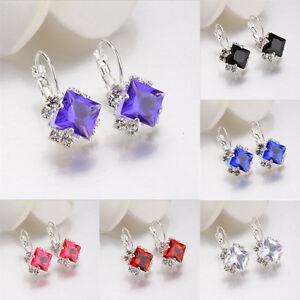 Elegant-White-Women-039-s-Pendant-Damond-Earrings-Ear-Studs-Crystal-Ear