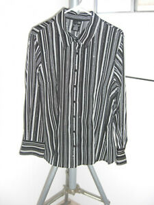 East-5th-Black-Gray-White-Polyester-Stretch-Striped-Long-Sleeves-Blouse-1X