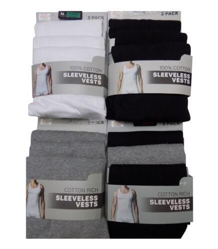 Men/'s Ex Major High Street Smooth Vest 3 Pack White Grey /& Black Underwear
