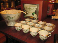 RARE! NIB LENOX HOLIDAY 12 PUNCH CUPS PUNCH BOWL & LADLE ALL NEW MINT CONDITION!